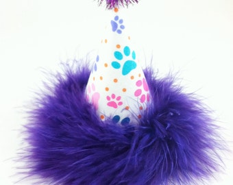 Girly Paw Print Party Hat