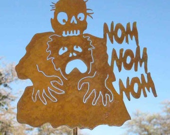 Zombie Eating Brains Nom Nom Yard Sign