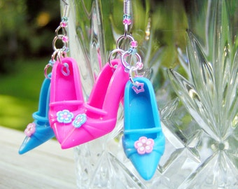 Cotton Candy Barbie Shoe Earrings