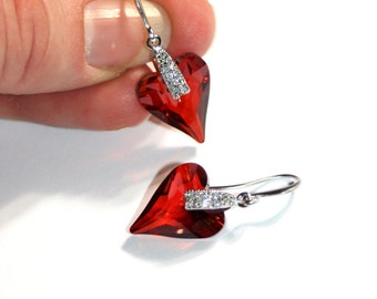 Austrian Swarovski Wild heart Red Magma crystal silver drop earrings