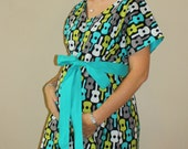 LINED Jensen Maternity Delivery Gown in Lagoon Groovy Guitars - Choose your Lining and Sash Color  - by Mommy Moxie on Etsy