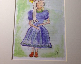 Archival matted art print of original mixed media faceless girl in hat