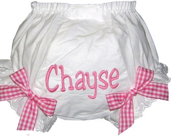 Personalized Baby Girl  Bloomers, Pink Gingham Bows Diaper Cover, Panties