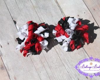 Ladybug hair bows, ladybug pigtail set, Halloween hair bow, set of ladybug mini korkers, korker hair bow, ladybug hair bow