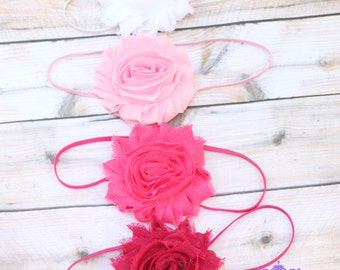 10 flower headbands, girls headband, baby headband, infant headband, shabby flower headband, shabby flower bow