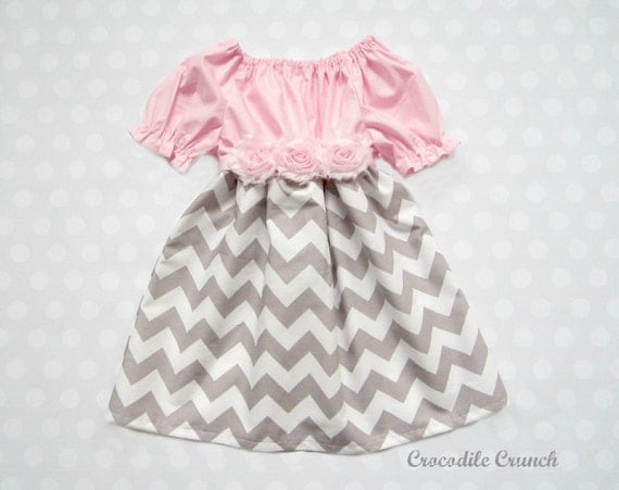 Baby Girl Pink and Gray Chevron Dress, Flower Belt Dress, Chevron Flower Girl Dress