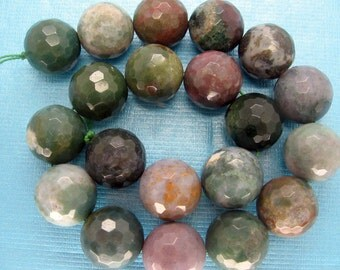 Beautiful Large Indian Agate Round Faceted Gemstone Beads 20mm