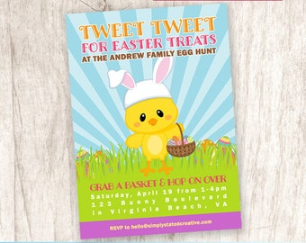 Easter Egg Hunt Invitation, Easter Bunny Party Invite, Easter Party - DiY Printable, Print Service Available || Tweet Tweet Easter Treats