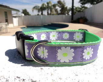 """Sale Dog Collar Lavender Daisy 1"""" wide Quick Release or Martingale collar style"""