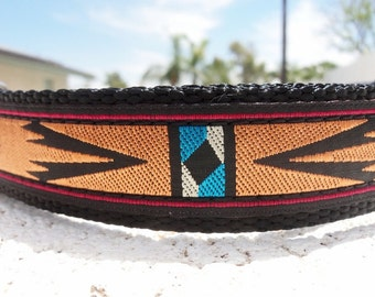 """Dog Collar Southwest, 3/4"""" or 1"""" Quick  Release buckle adjustable - upgrade to  martingale - info in details"""