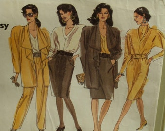 Drape Collar Jacket Pattern, Loose Fitting, Unlined, Pullover Dress, Pullover Top, V-Neck, Straight Skirt, Vogue No. 2383 UNCUT Size 8 10 12