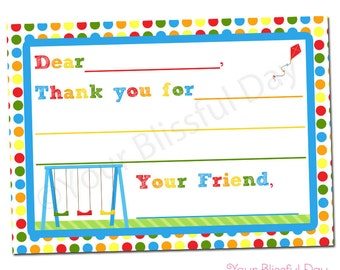 PRINTABLE Party in the Park Fill-in-the-Blank Thank You Cards #567