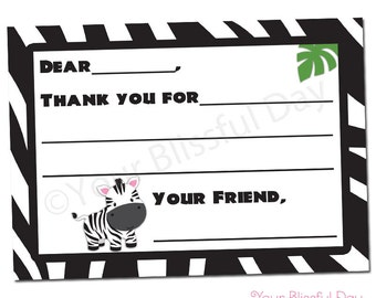 PRINTABLE Zebra Fill-in-the-Blank Thank You Cards #599