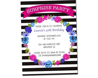 PRINTABLE Stripes and Flowers Surprise Party Invitation #113