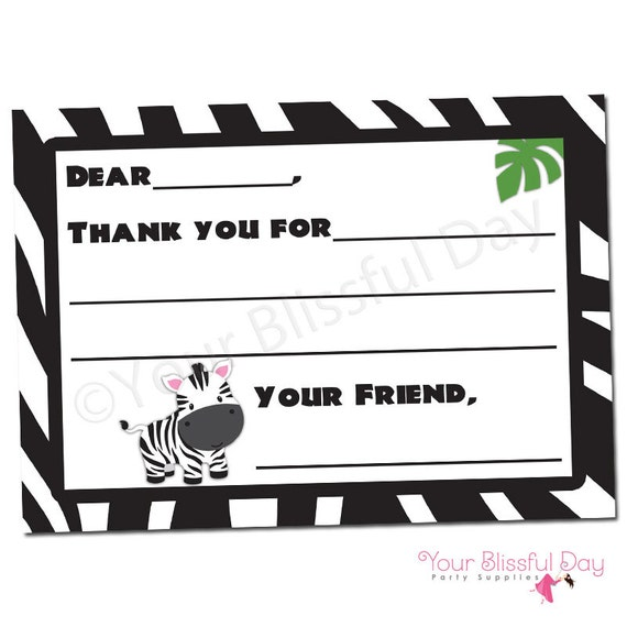 image relating to Printable Thank You Cards Black and White referred to as Zebra Fill-in just-the-Blank Printable Thank Yourself Playing cards #599