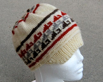 wool hat with brim: Incan abstract pattern