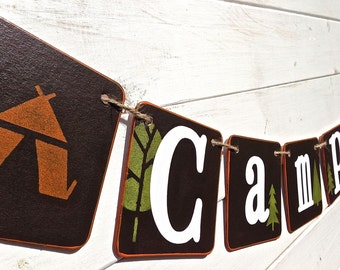 CAMPING Banner, Outdoor Banner, Photo Prop, Boys Banner, Bedroom Banner, Playroom Banner, Brown, Green, Campsite, Camping Decoration