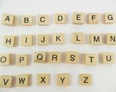 "60 Wood Alphabet Set Tiles Wood Square 3/4"""