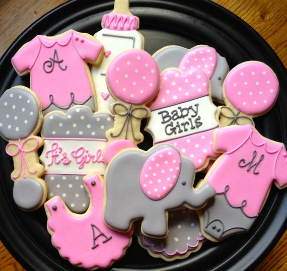 baby elephant baby shower sugar cookie collection