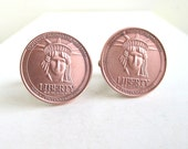 Statue of Liberty Coin Cuff Links - Authentic Copper Material from Statue, Repurposed