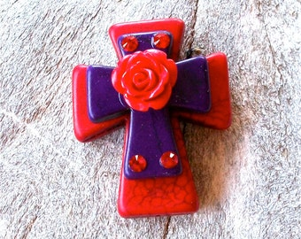 Large Stacked Red Stone Cross with PURPLE Stone Cross, Rose, and Bling