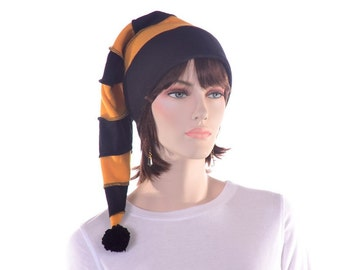 Black Gold Stocking Cap Long Stocking Hat Adult Womens Hat Mens Hat Striped PomPom Team Color Striped Hat