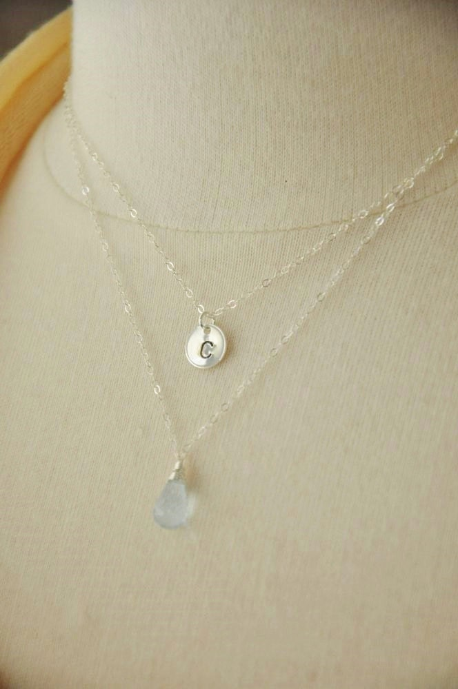 Personalized Layered Necklace - Silver Mommy Necklace/ Birthstone Necklace/ Aquamarine Necklace/ Initial Necklace/ Monogram Jewelry
