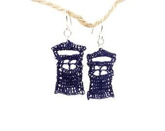 Blue Police Box - Dr. Who Crochet Fish Hook Earring - Nickel Free