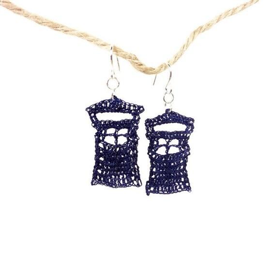 Crochet Hook Earrings: Blue Police Box Dr. Who Crochet Fish Hook Earring Nickel