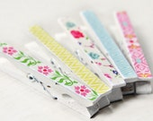 Clothespin magnet set of 5 spring flowers