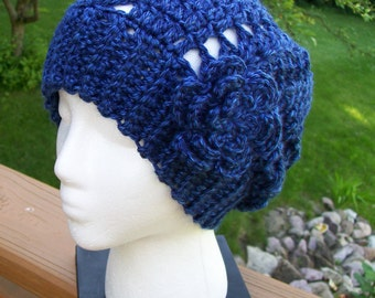 Crochet Slouchy Urban Beanie Hat with Flower Pin, Slouchy Slacker Hat- Teens/ Adults- in Royal and Navy Twist