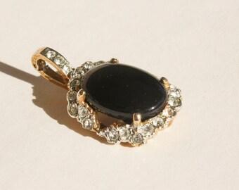 Black Costume Pendant with Rhinestones