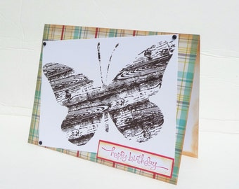 Happy Birthday Butterfly Greeting Card - Handmade Paper Card - Birthday Card for Her - Hand Stamped Birthday Greetings