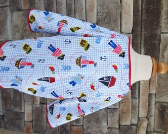 4/5 Kid Art Smock - Size 4T 5T - PIrate Print -Waterproof and Long Sleeved