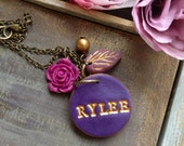 Name necklace - Purple tones - Personalized jewelry