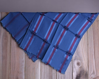 50s Blue Scarf - Vintage 1950s Blue and Red Striped Scarf