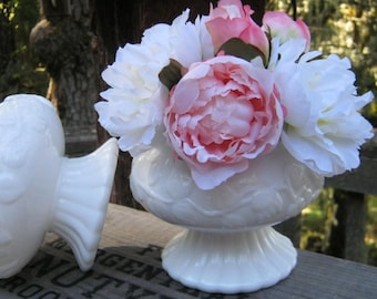 Pair of Matching Milk Glass Compotes in a Floral Pattern - Wedding Decor - Table Centerpieces - Oak Hill Vintage