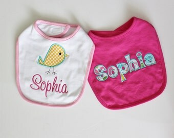 PERSONALIZED Baby Girl SET of 2 Bib with Spring Bird and Name