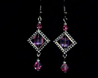 Earring crystal,  Earrings, pink earrings.pink earring,