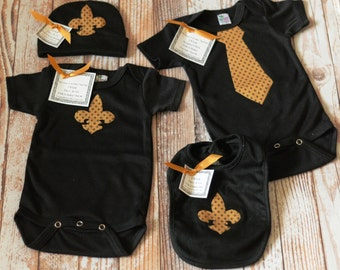 L'il Dat Black and Gold Fleur de Lis 3 Piece Newborn Set