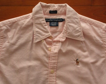 women's vintage Ralph Lauren pink and white striped oxford button down.