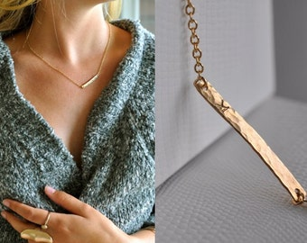 14K Gold Filled Hammered Bar Necklace, Personalized, Customized, Embossed, Stamped