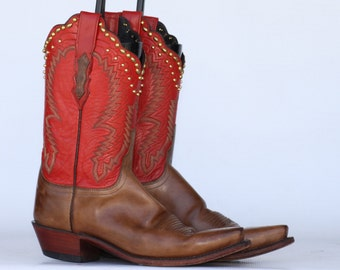 One of a kind, Lucchese, STUDDED, 2 tone leather ladies cowboy boots 9.5 B