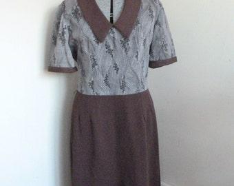 Vintage 1970's Brown Dress Size Large