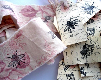 12 Hand Stamped Hang Tags - 2 yards of Stamped Fabric Trim - Scrapbooking Cottage Chic Scrapbook  paris french