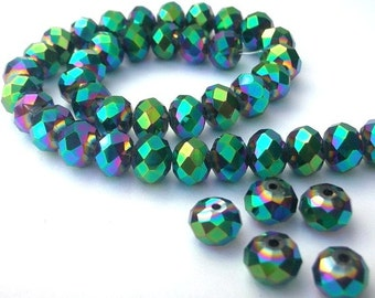 18 green metallic 6mm crystal beads, Chinese crystal rondelles, 6mm x 4mm