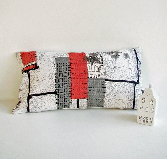 Japanese Inspired Mid Century Modern Pillow Cover, Vintage Barkcloth Cushion, 50s Home Decor