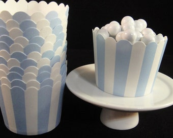 Baby Blue Striped  Baking Cups, Candy Cups, Dip Cups, Nut Cups, Weddings, Party Cups, Candy Buffets, Wedding Cupcakes, Favor Cups, QTY 12