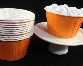 Orange  Baking Cups, Candy Cups, Dip Cups, Nut Cups, Weddings, Party Cups, Candy Buffets, Wedding Cupcakes, Favor Cups, QTY 12