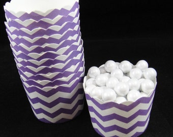 Purple Chevron Striped  Baking Cups, Candy Cups, Dip Cups, Nut Cups, Weddings, Party Cups, Candy Buffets, Wedding Cupcakes, Favors , QTY 12